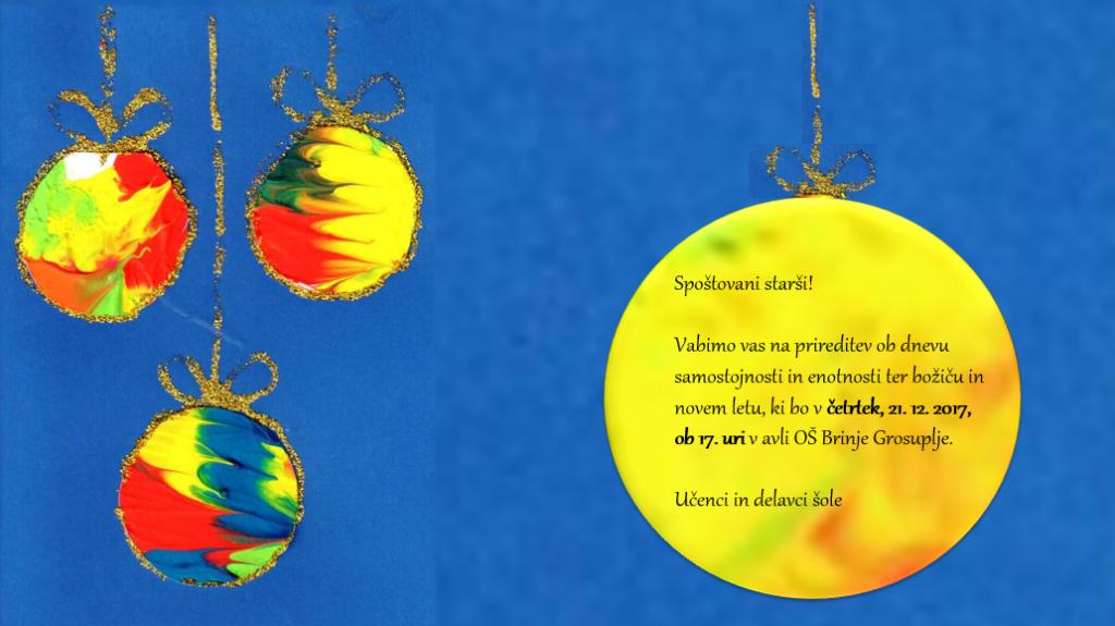 Vabilo na božično-novoletno prireditev